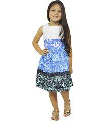 vestido blanco azul con negro vt-00156
