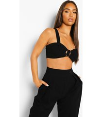linnen bralette met o-ring detail, black