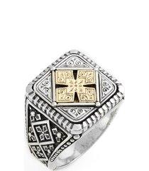 men's konstantino silver & gold classics square ring