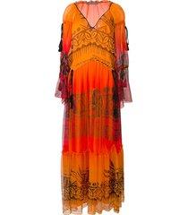 alberta ferretti tassel detail long dress - orange