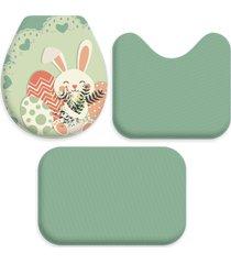 jogo tapetes love decor wevans para banheiro pã¡scoa coelho cute verde - verde - dafiti