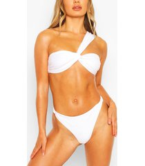 twisted one shoulder bandeau bikini, white