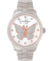jessica simpson women's pave crystal butterfly silver tone bracelet watch 36mm