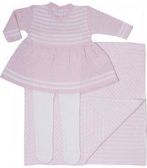 conjunto vestido com manta passion tricot rosa