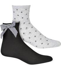 inc women's 2-pk. plaid bow & dot-print anklet socks, created for macy's