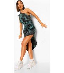 geplooide tie dye midi jurk met blote schouder, green