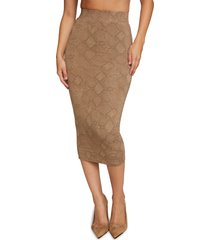 women's good american snakeskin print pencil midi skirt, size 4 - beige