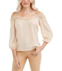 guess tancia lace-trim cold-shoulder top