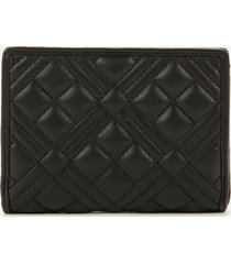 love moschino women's quilted wallet - black