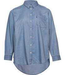 pl ultimate boyfriend light mi overhemd met lange mouwen blauw levi's plus