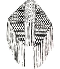 missoni triangle fringe wrap scarf - black