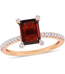 garnet (2-1/8 ct.t.w.) and diamond (1/10 ct.t.w.) ring in 10k rose gold
