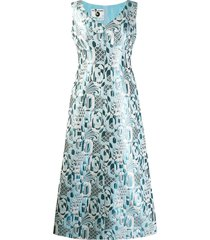a.n.g.e.l.o. vintage cult 1970's geometric jacquard gown - blue