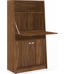 armário retrátil mesa multiuso armário me4136 tecno mobili nogal. videira