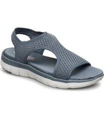womens flex appeal 2.0 - deja vu shoes summer shoes flat sandals blå skechers