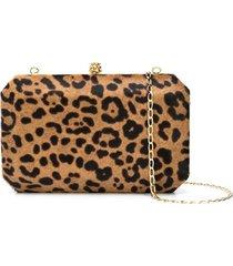 tyler ellis lily leopard print clutch bag - brown