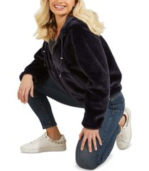 guess hooded faux-fur teddy zip-front jacket