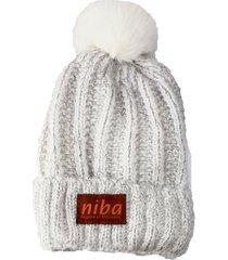 gorro de lana enladrillado blanco niba