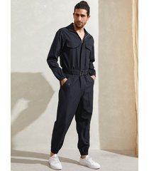 hombres moda casual con cinturón y capucha manga larga mono
