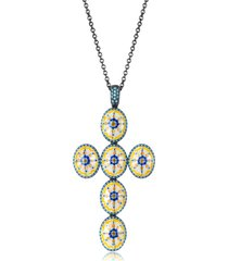 azhar designer necklaces, capri silver, zircon and enamel cross necklace