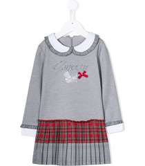 lapin house front logo collared dress - grey