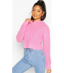knitted hooded cropped sweater, pink