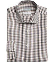 michael kors men's slim fit dress shirt brown check - size: 20 34/35
