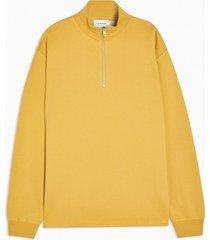 mens yellow peached 1/4 zip sweatshirt