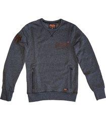 superdry zachte sweater black grit met 2 ritszakken