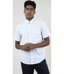 camisa masculina comfort estampada xadrez com bolso manga curta azul claro