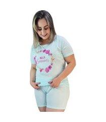"pijama feminino hello summer"" verde claro plus size"""