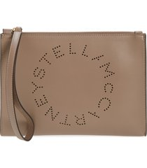 stella mccartney perforated logo alter nappa faux leather pouch - beige