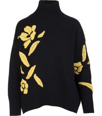 ermanno scervino black sweater with high collar and embroidery with yellow flowers