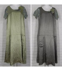 lee andersen rye dress crinkle satin nwt tourmaline grey dill green small large
