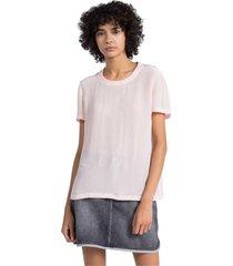 blusa rosa calvin klein faux silk