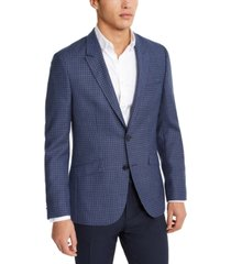 hugo hugo boss men's slim-fit navy blue/gray check sport coat