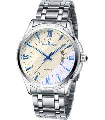 orologi luminosi impermeabili del quarzo del calendario degli orologi dell'argento degli uomini della cinghia dell'acciaio inossidabile di affari