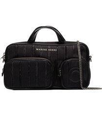 marine serre moiré-effect shoulder bag - black