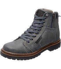 bota coturno em couro mega boots 6016 cinza - cinza - masculino - dafiti