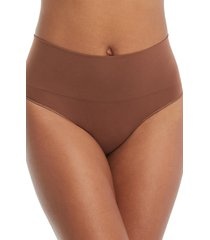 women's spanx everyday shaping panties thong, size large - beige