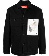 x roe ethridge guest denim patch shirt, black