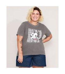 camiseta de algodão plus size gato félix manga curta decote redondo chumbo