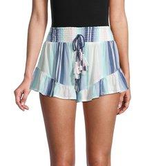 surf gypsy women's striped drawstring tassel ruffle shorts - maldives - size l
