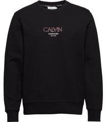 calvin small logo sweatshirt sweat-shirt tröja svart calvin klein