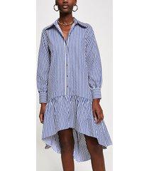 river island womens blue stripe drop hem shirt dress