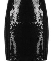 hugo high-waisted patent skirt - black
