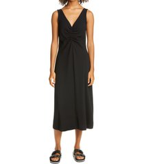 women's vince ruched neck sleeveless dress, size small - black