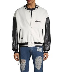 leather-sleeve denim varsity jacket