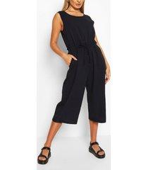 baggy culotte jumpsuit met touwtjes, marineblauw