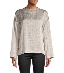 eileen fisher women's printed silk-blend top - brown multi - size xl